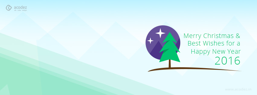 Christmas Tree & Stars to welcome Christmas and New Year - New Year Facebook Cover Photo 2016