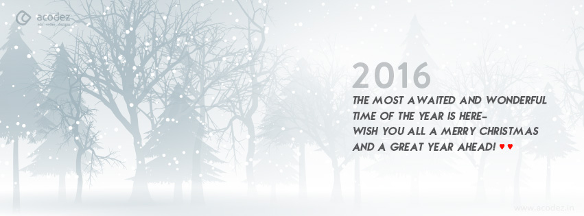 snow theme with a quote new year facebook cover photo 2016